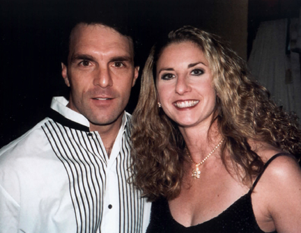 Doug Flutie, Jennifer Rousos - Singer / dancer Jennifer Rousos backstage in Tampa with NFL favorite Doug Flutie.