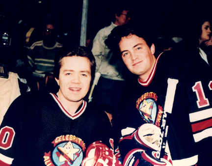 Matthew Perry - Teammates Matt Perry and Gary Webb get ready for a Hollywood Celebrity All Star Hockey Game in Boston.