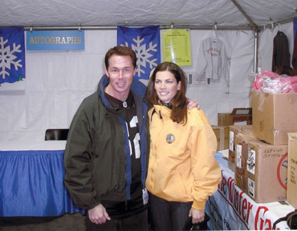 Nancy Kerrigan, Chad Slayton - Olympian Nancy Kerrigan relaxing in the green room with Nik keyboardist Chad Slayton at the Empire State Games, Lake Placid, NY.