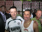 David Paterson - NY Governor David Paterson backstage with Nik bassist John Bidwell at the Boilermaker 15k race in Utica. Paterson ran the race, Bidwell did not.