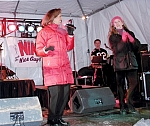 Yolanda Vega, Jennifer Rousos - Yolanda Vega of the NYS Lottery sings with Nik & the Nice Guys at an outdoor show in Lake Placid, NY - outdoors in February!